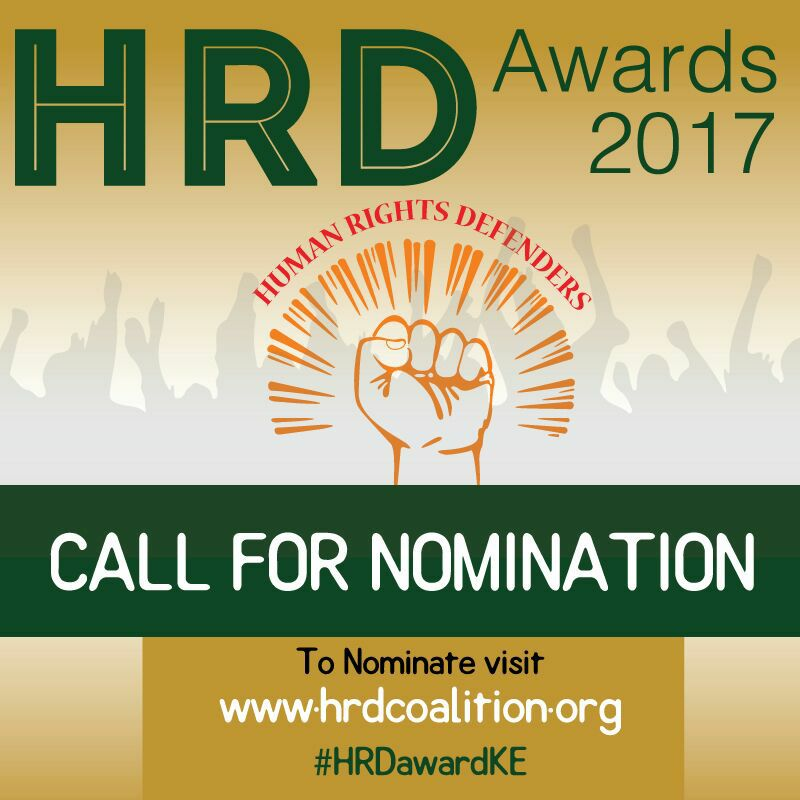 It is against this backdrop that the Working Group on Human Rights Defenders in Kenya, that comprise of CSOs and development partners in Kenya, concerned with the protection of human rights defenders hold the 2017 Human Rights Defenders Awards. The HRD awards endeavour to publicly recognise the work of HRDs in Kenya through a HRD award ceremony. This will take place on 29th November 2017 – International Women Human Rights Defenders Day. There will be awards in three categories: The Munir Mazrui
