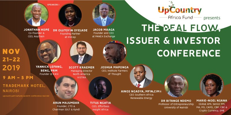 Over 300 delegates will be meeting in Nairobi next month to discuss valuation and innovation around the administration of investment transactions for mid-level Pan African business owners and investors. The two-day conference organized by Upcountry Africa Fund Asset